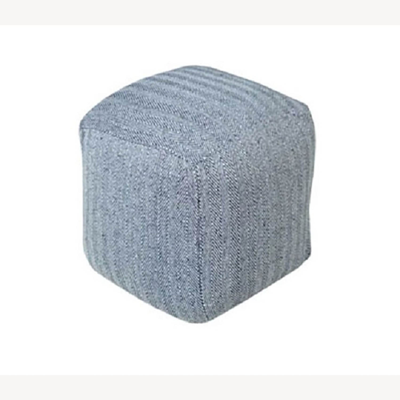 Hand Knit Herringbone Navy Blue Ottoman Foot Rest - image-1
