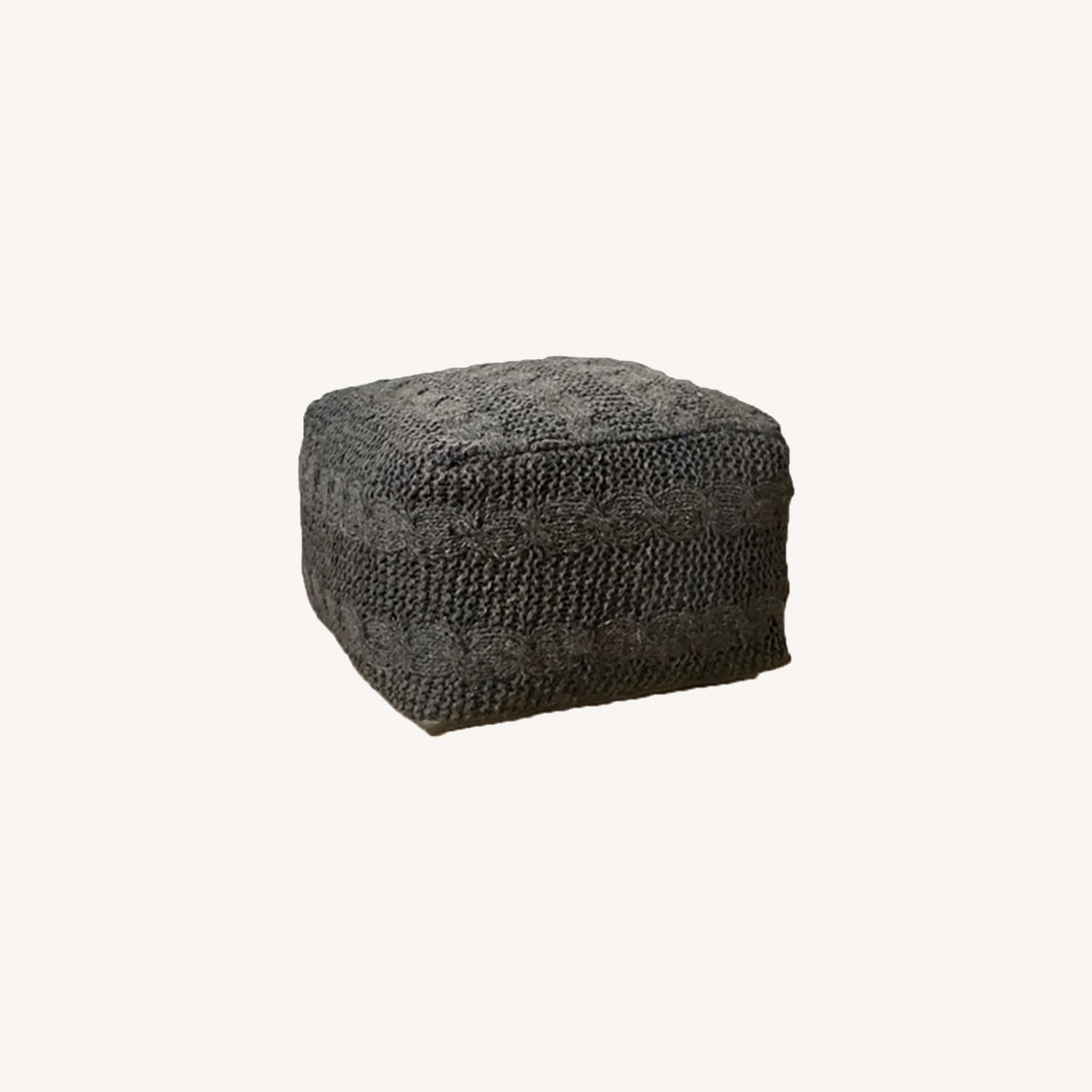 """Unity Hand Knitted Gray Woven Wool 15""""x25"""" Ottoman - image-0"""