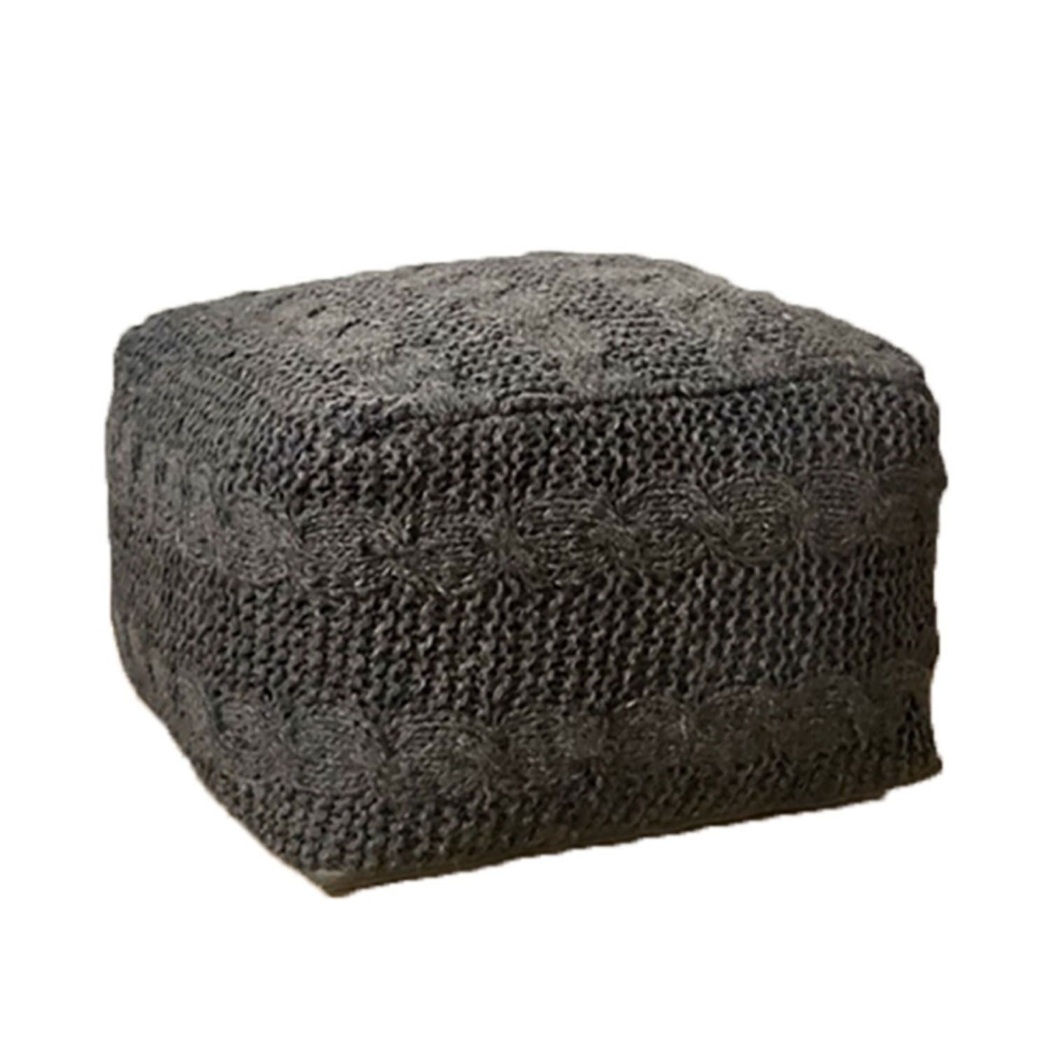 """Unity Hand Knitted Gray Woven Wool 15""""x25"""" Ottoman - image-1"""