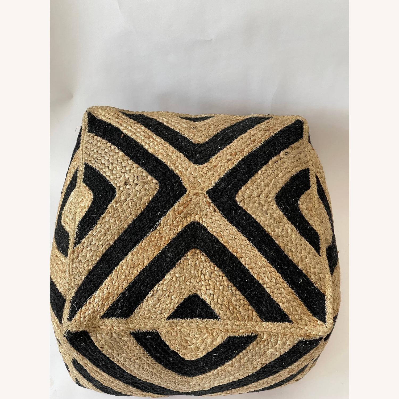 Handmade Knitted Pouf Square Jute Ottoman - image-1