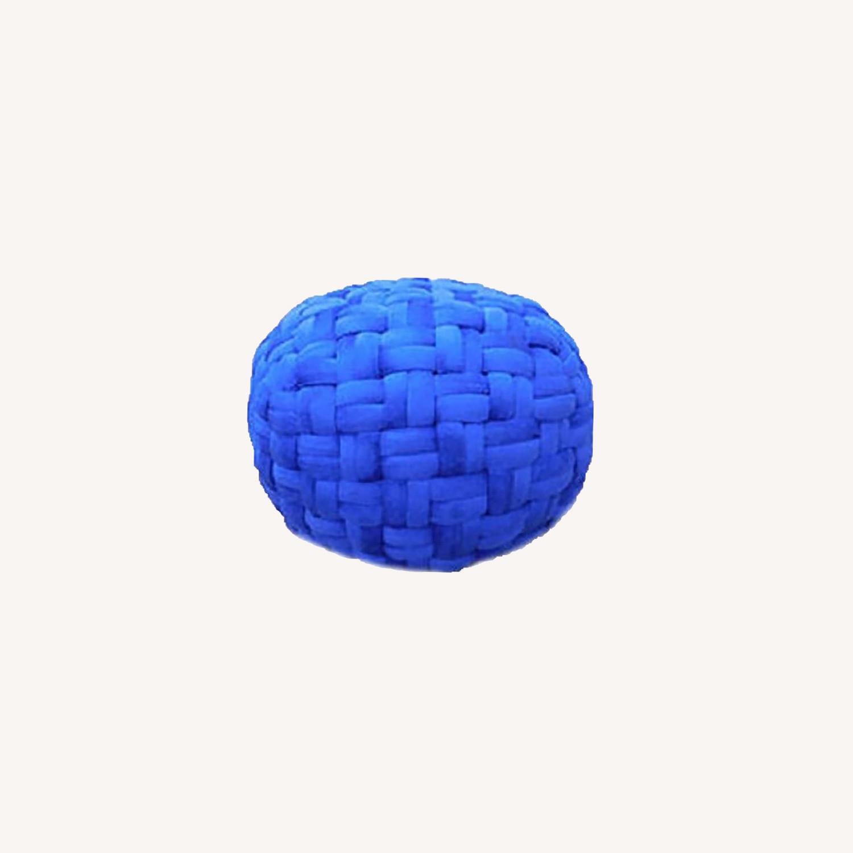 "Hand Knit Checker Board Blue Velvet Pouf 15""x17"" - image-0"
