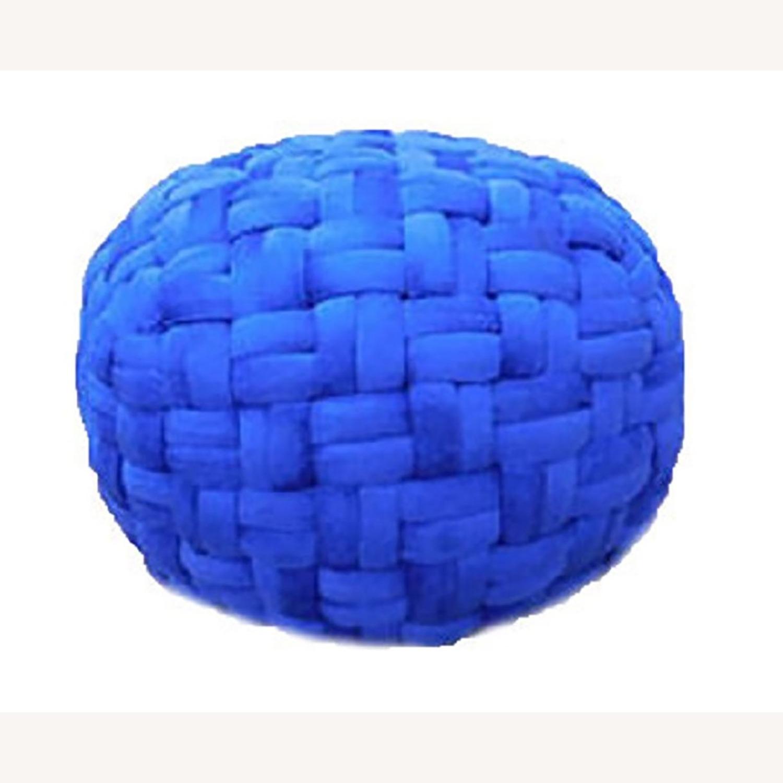 "Hand Knit Checker Board Blue Velvet Pouf 15""x17"" - image-3"