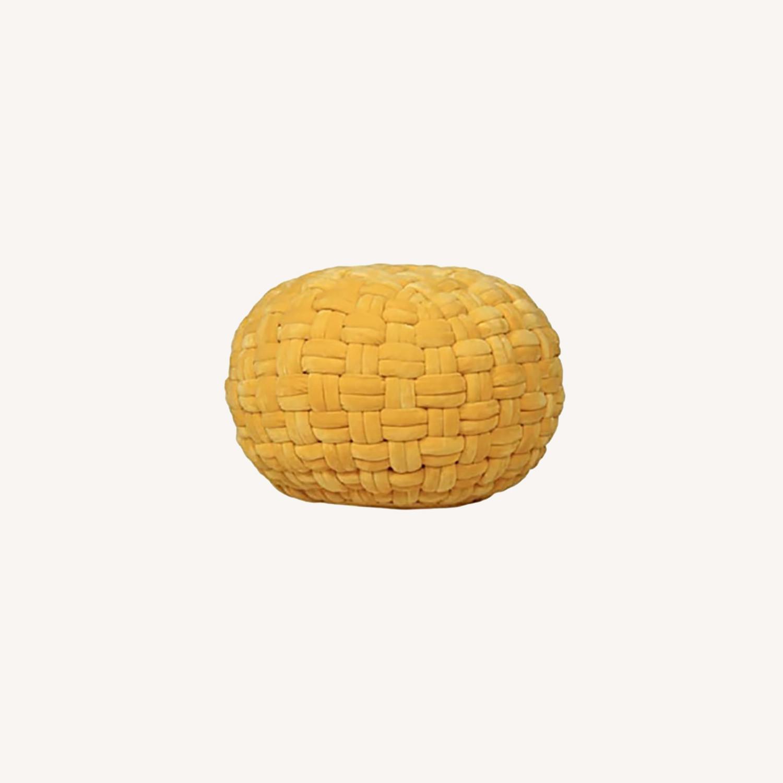 """Checker Board Yellow Velvet Ottoman Pouf 15""""x17"""" - image-0"""