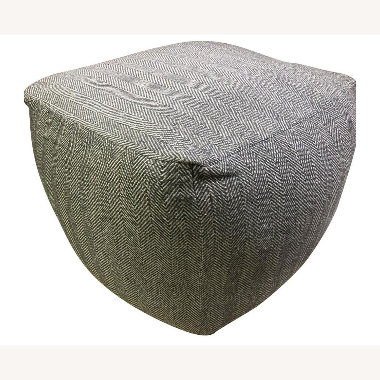 Hand Knit Herringbone Dark Gray Ottoman Pouf - image-5
