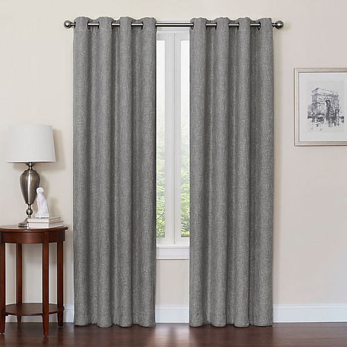 Used Bed Bath & Beyond 95-inch Grey Blackout Curtains for sale on AptDeco