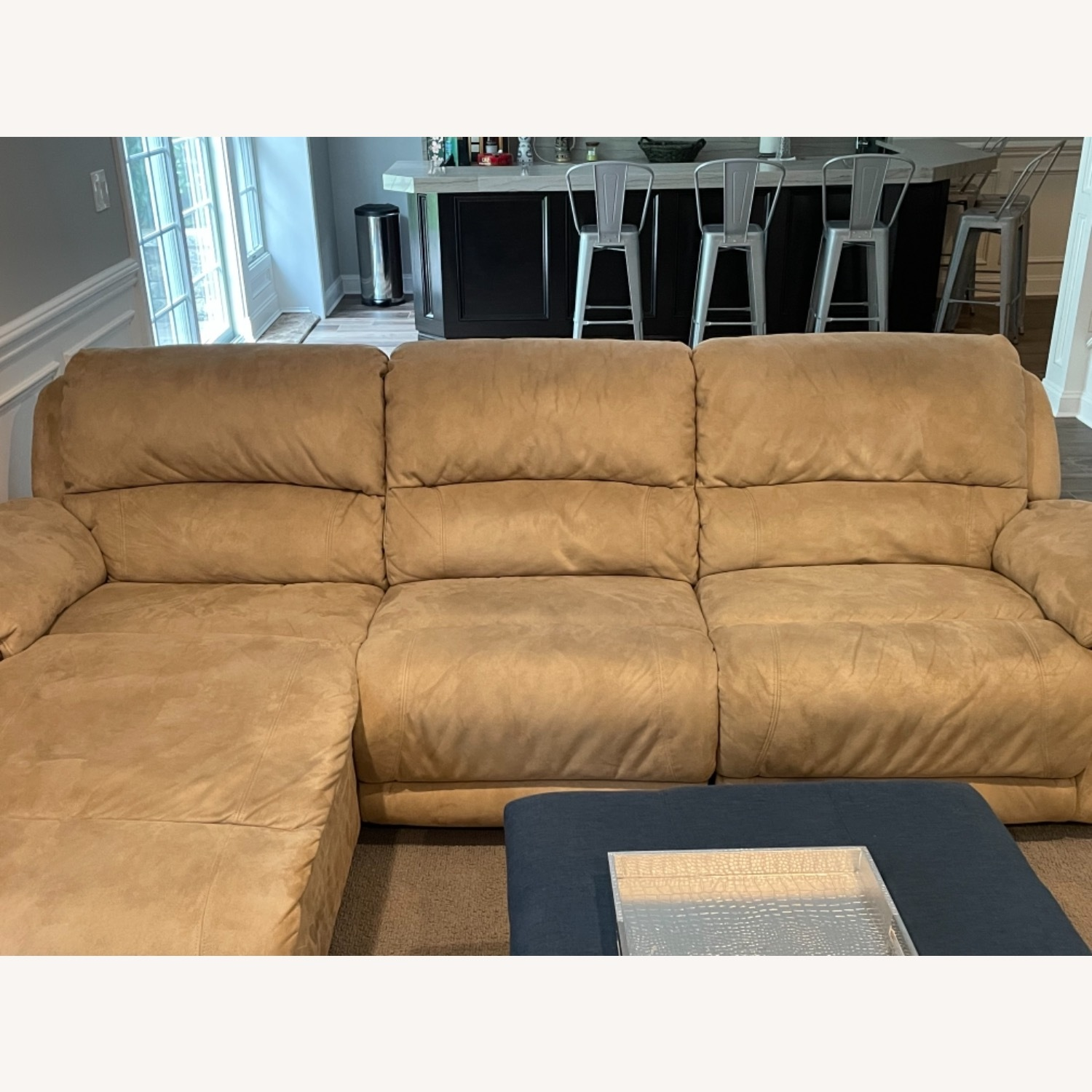 Raymour & Flanigan Reclining Sofa with Chaise - image-1