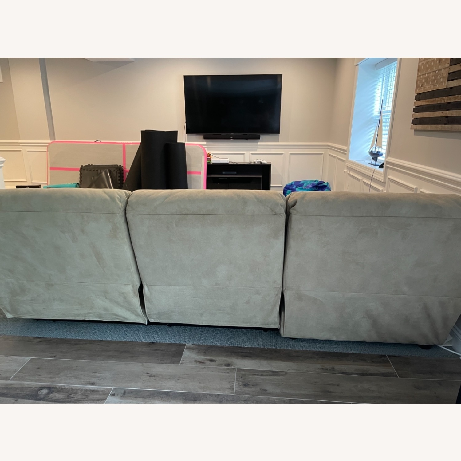Raymour & Flanigan Reclining Sofa with Chaise - image-3