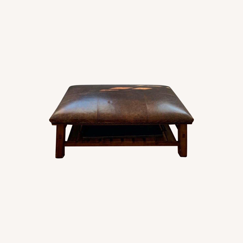 Pottery Barn Leather/Wood Ottoman/Coffee Table - image-0