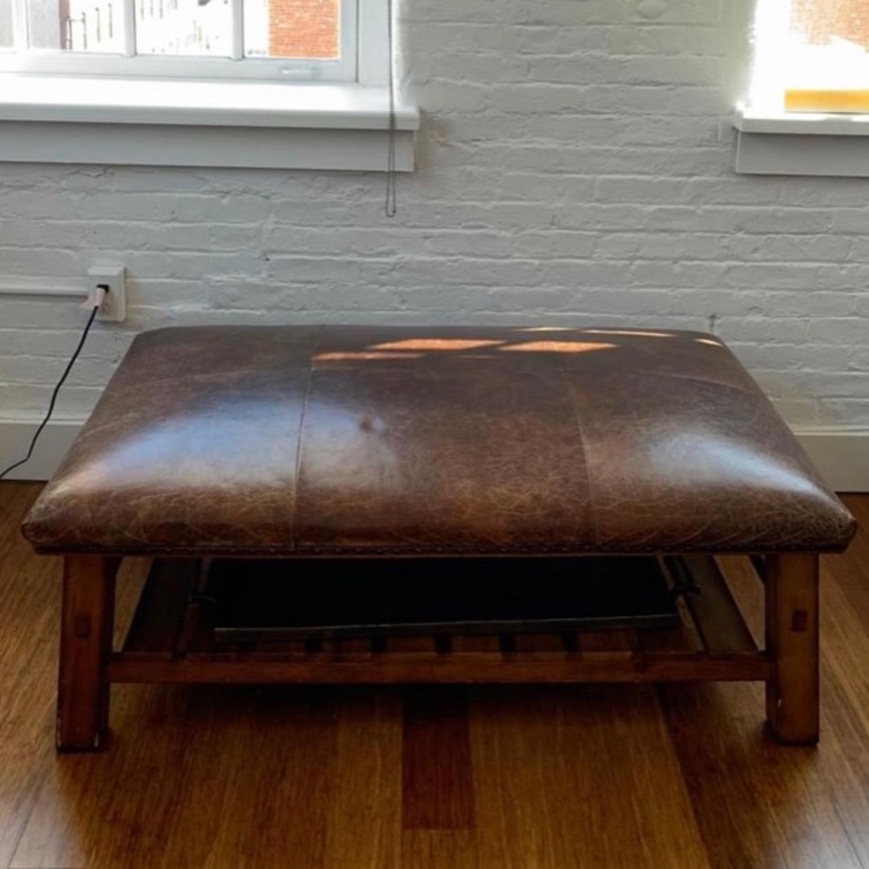 Pottery Barn Leather/Wood Ottoman/Coffee Table - image-5