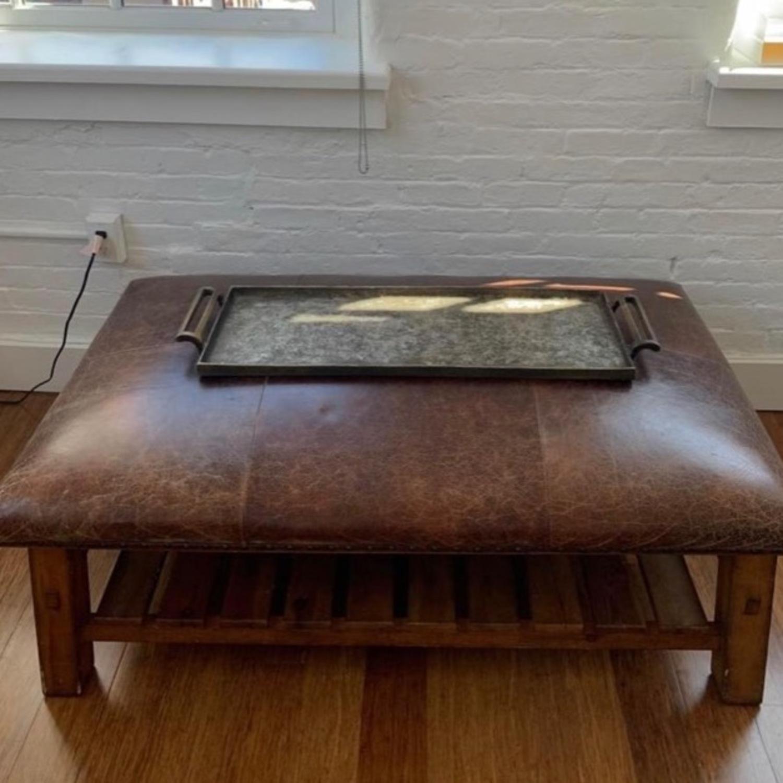 Pottery Barn Leather/Wood Ottoman/Coffee Table - image-3