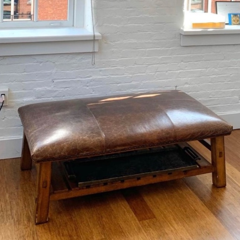 Pottery Barn Leather/Wood Ottoman/Coffee Table - image-1