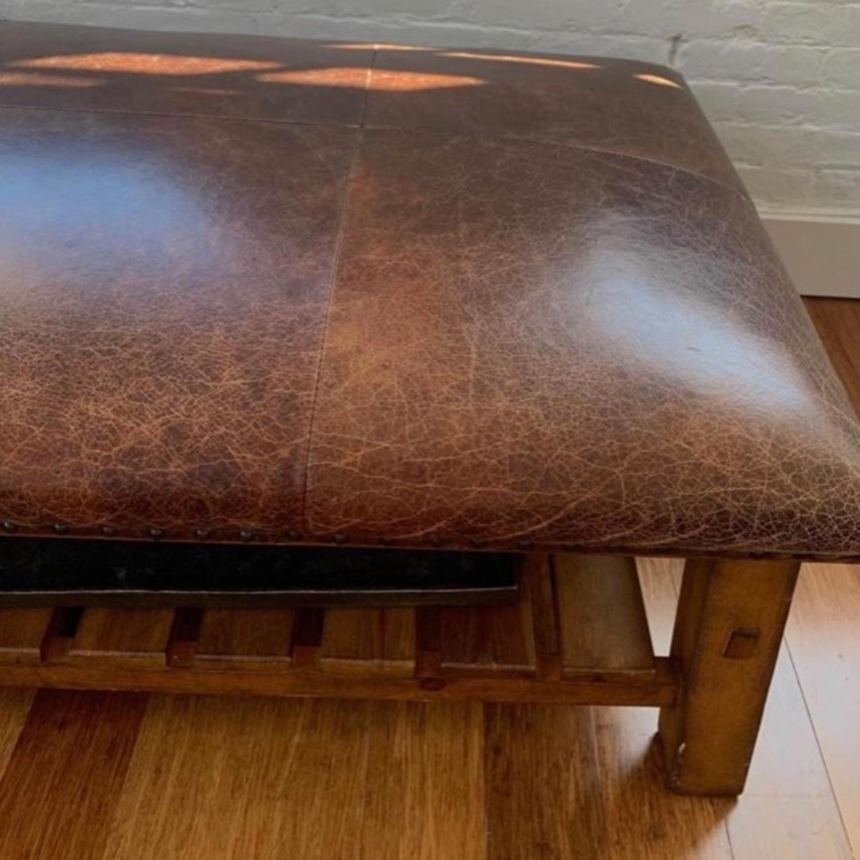 Pottery Barn Leather/Wood Ottoman/Coffee Table - image-2