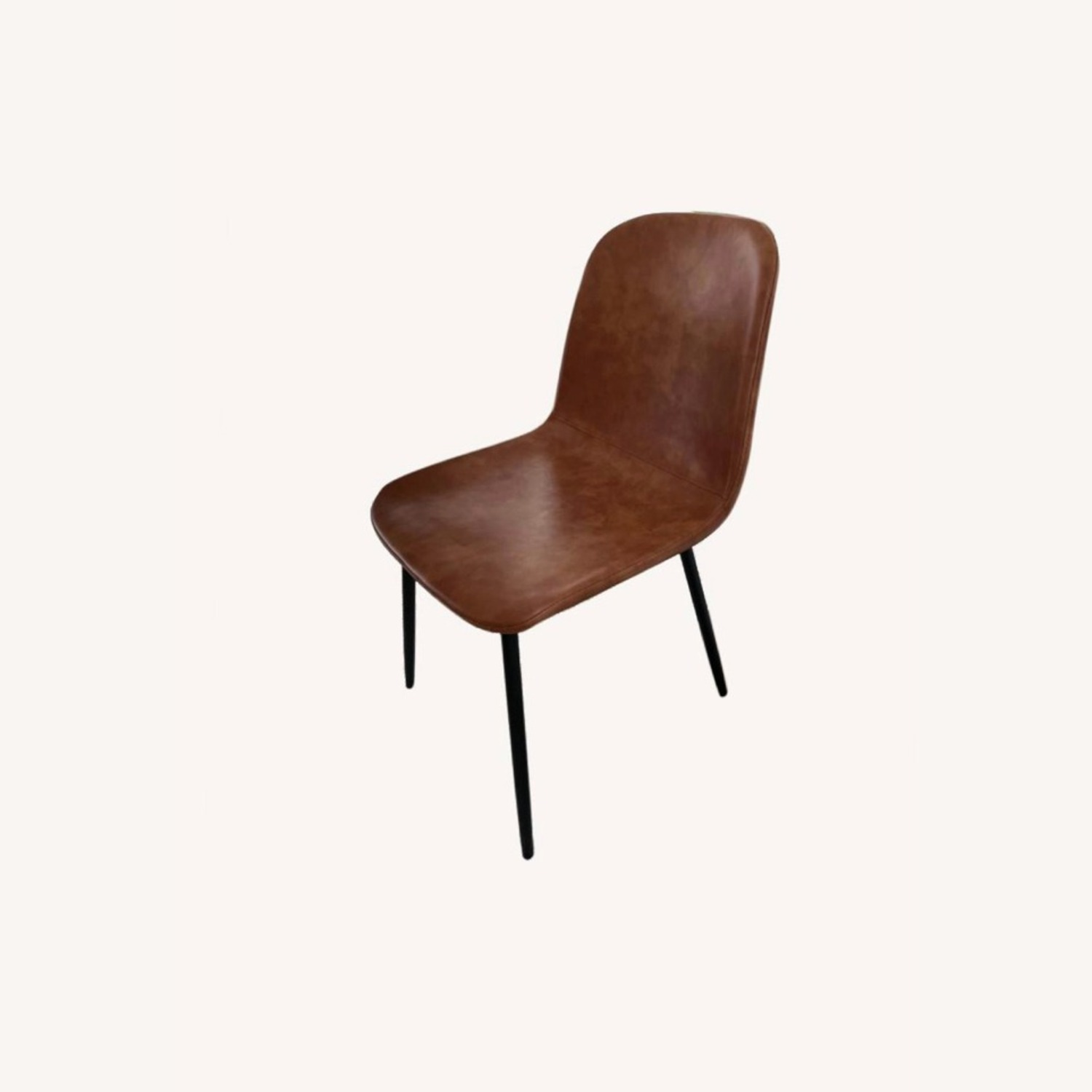 Set of 6 Slope Dining Chairs Faux Leather Brown - image-0