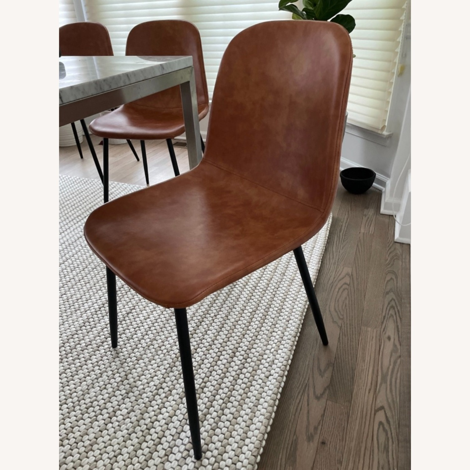 Set of 6 Slope Dining Chairs Faux Leather Brown - image-1