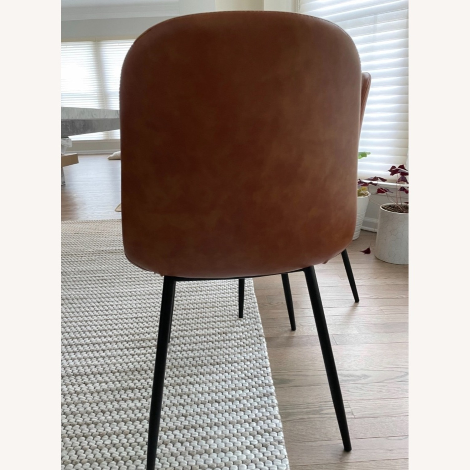 Set of 6 Slope Dining Chairs Faux Leather Brown - image-3