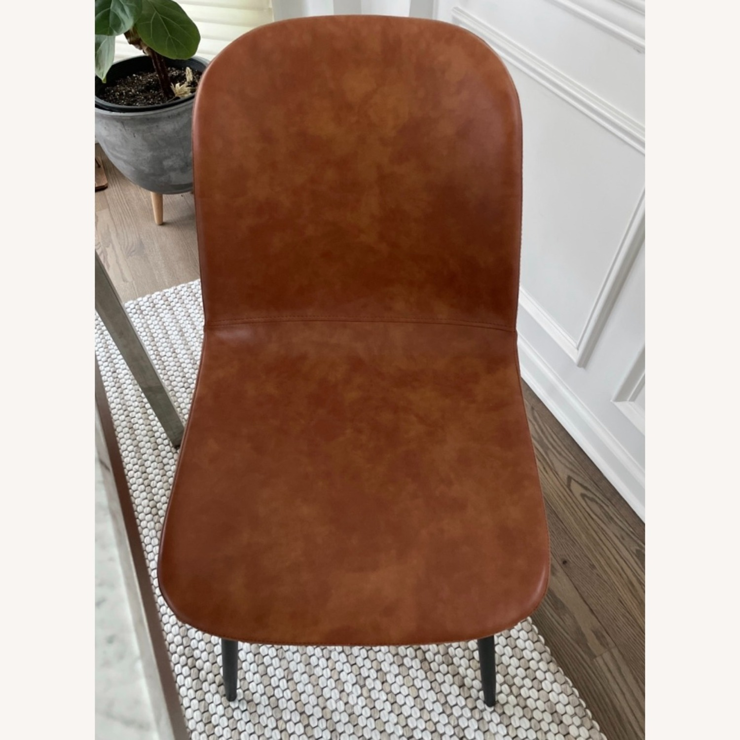 Set of 6 Slope Dining Chairs Faux Leather Brown - image-5