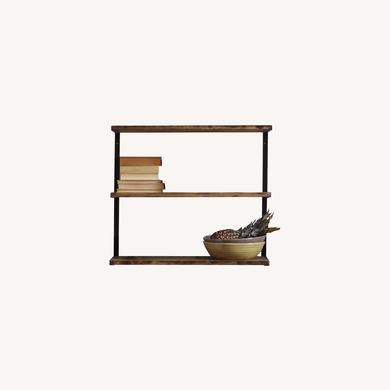 West Elm 3-Tiered Wood & Metal Wall Shelf - image-0