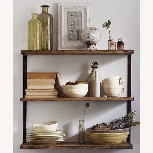 Used West Elm 3-Tiered Wood & Metal Wall Shelf for sale on AptDeco