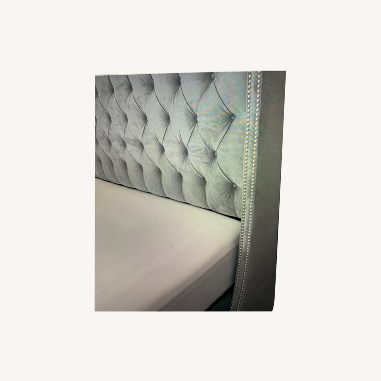Velvet Steel Gray King Bed - image-0