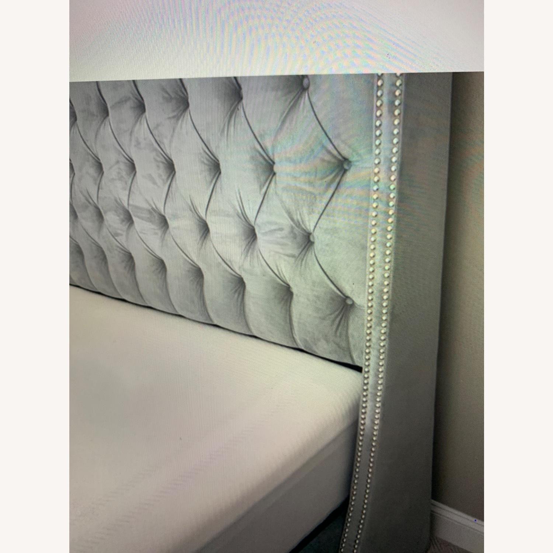Velvet Steel Gray King Bed - image-1