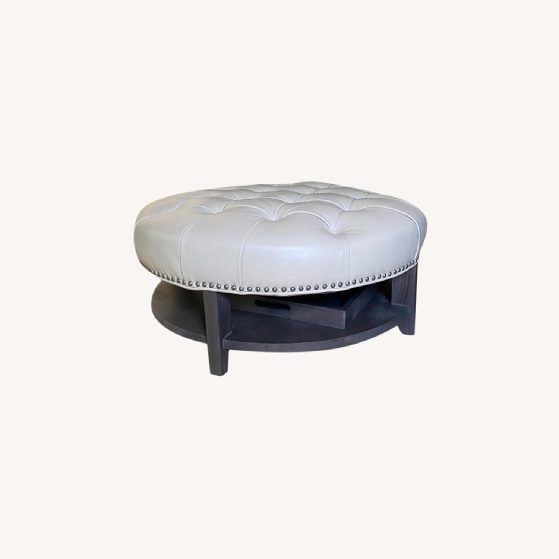 Arhaus Leather Ottoman - image-0