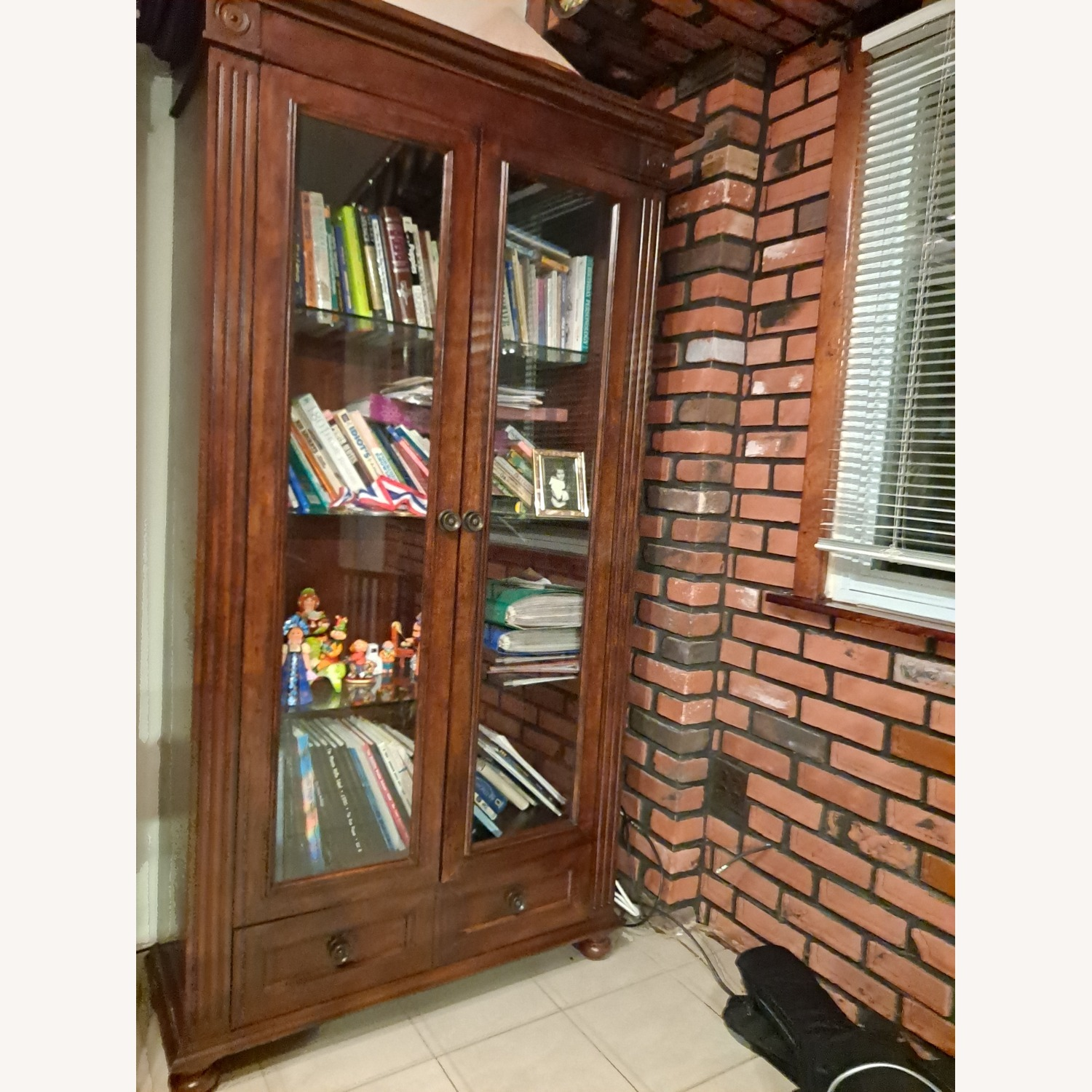 Wooden Importers Bookcace with Glass Doors - image-1