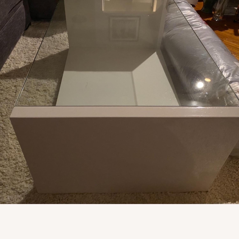 Modani White Glass Modern Coffee Table - image-6