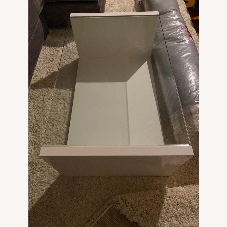 Modani White Glass Modern Coffee Table - image-3