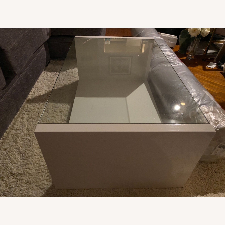 Modani White Glass Modern Coffee Table - image-2