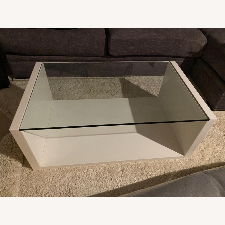 Modani White Glass Modern Coffee Table - image-1