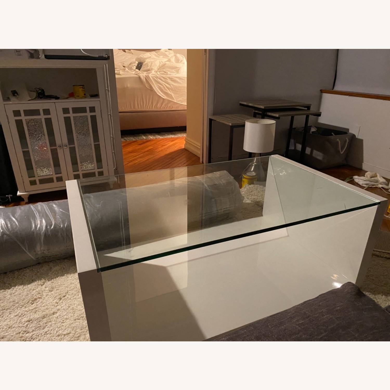 Modani White Glass Modern Coffee Table - image-4