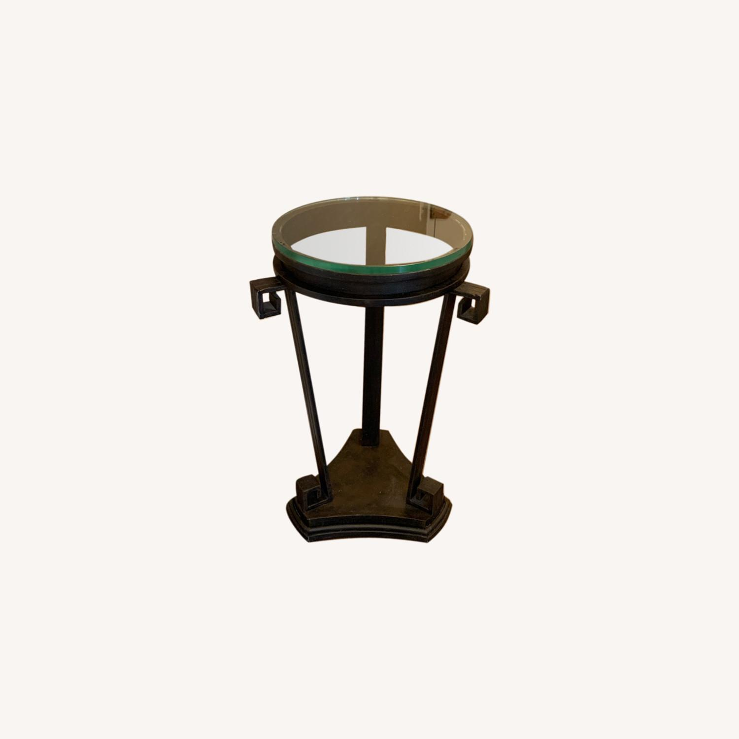 """Black Iron Side/Accent Table w/1/2"""" Glass Top - image-0"""