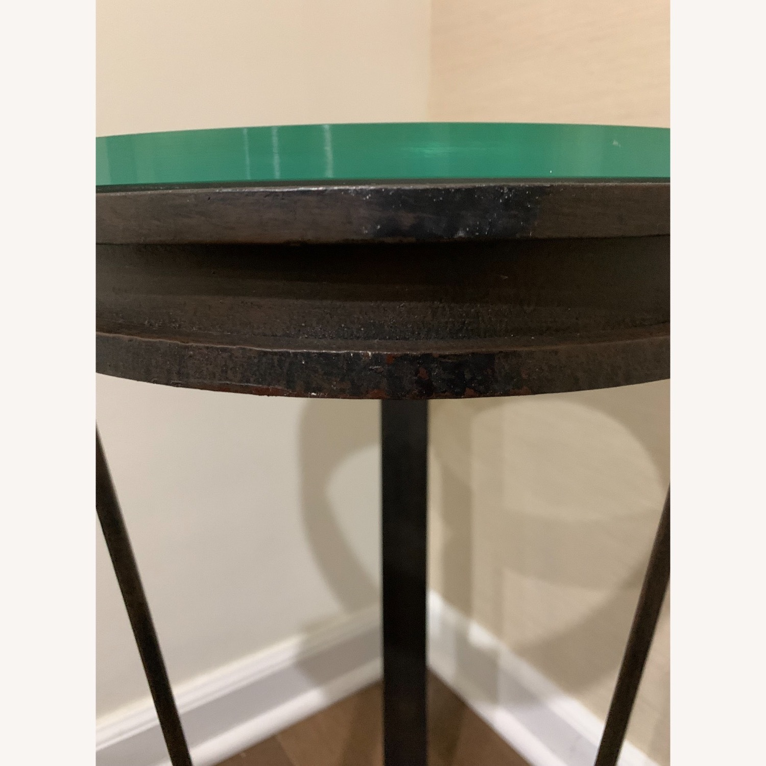"""Black Iron Side/Accent Table w/1/2"""" Glass Top - image-5"""