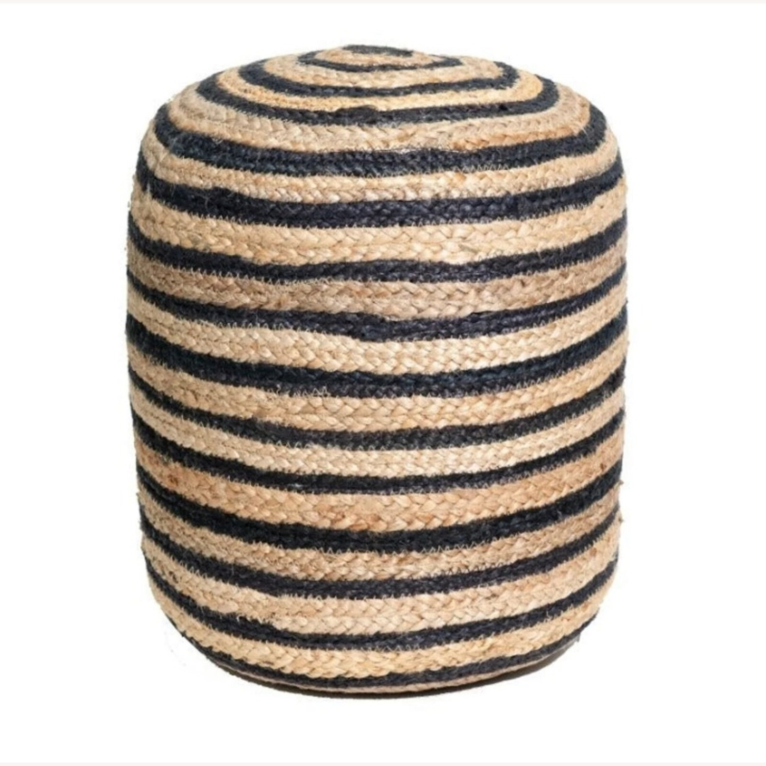 Hand Made Jutee Braided Multi-Coloured Pouf - image-1