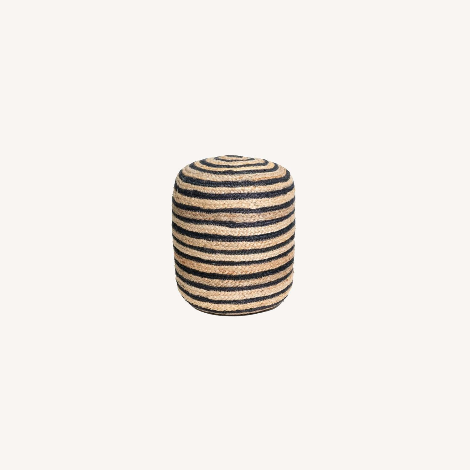 Hand Made Jutee Braided Multi-Coloured Pouf - image-0