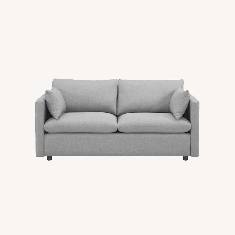 Modern Sofa In Light Gray Rounded Cushion Finish - image-8