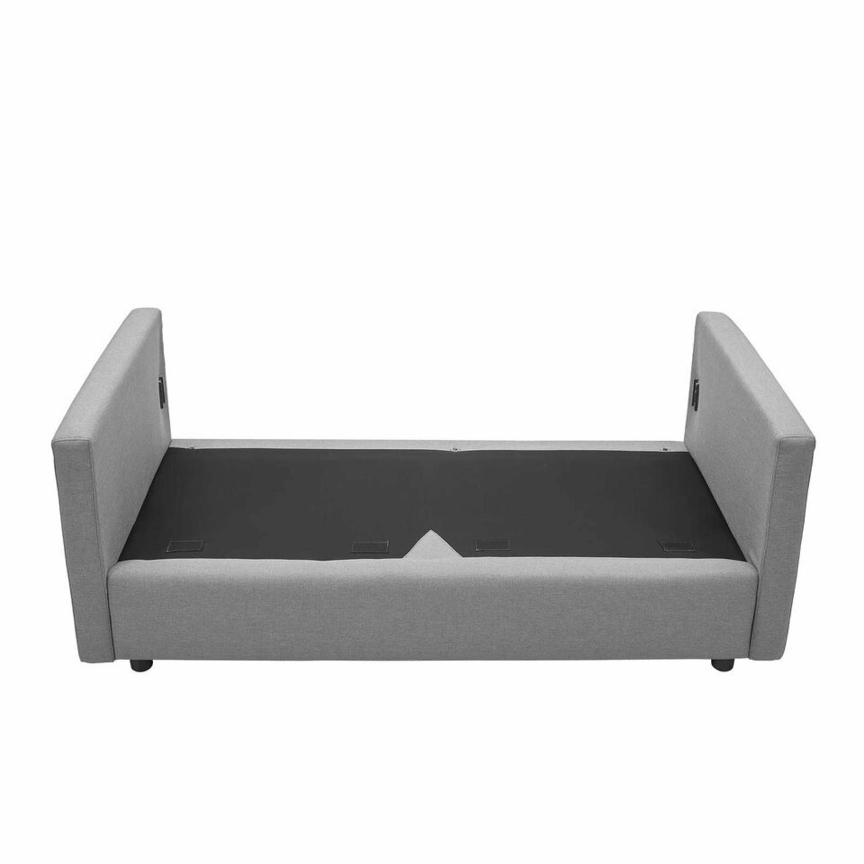 Modern Sofa In Light Gray Rounded Cushion Finish - image-4