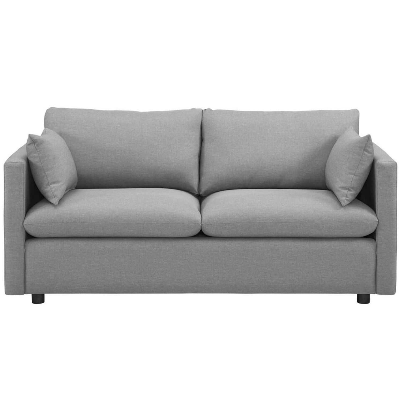 Modern Sofa In Light Gray Rounded Cushion Finish - image-0