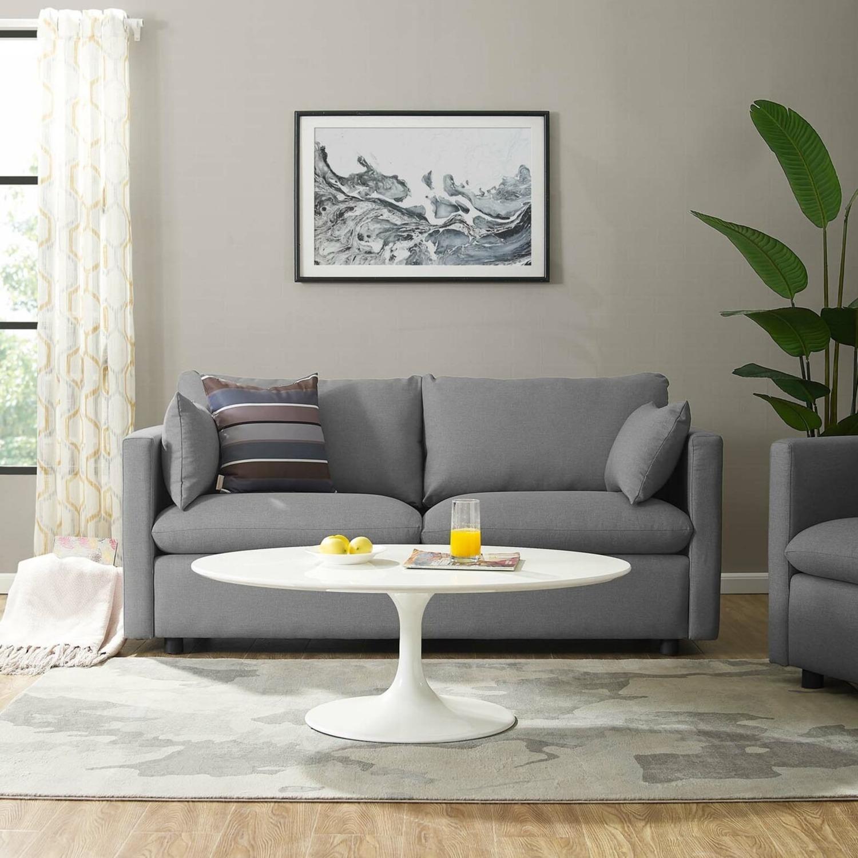 Modern Sofa In Light Gray Rounded Cushion Finish - image-7