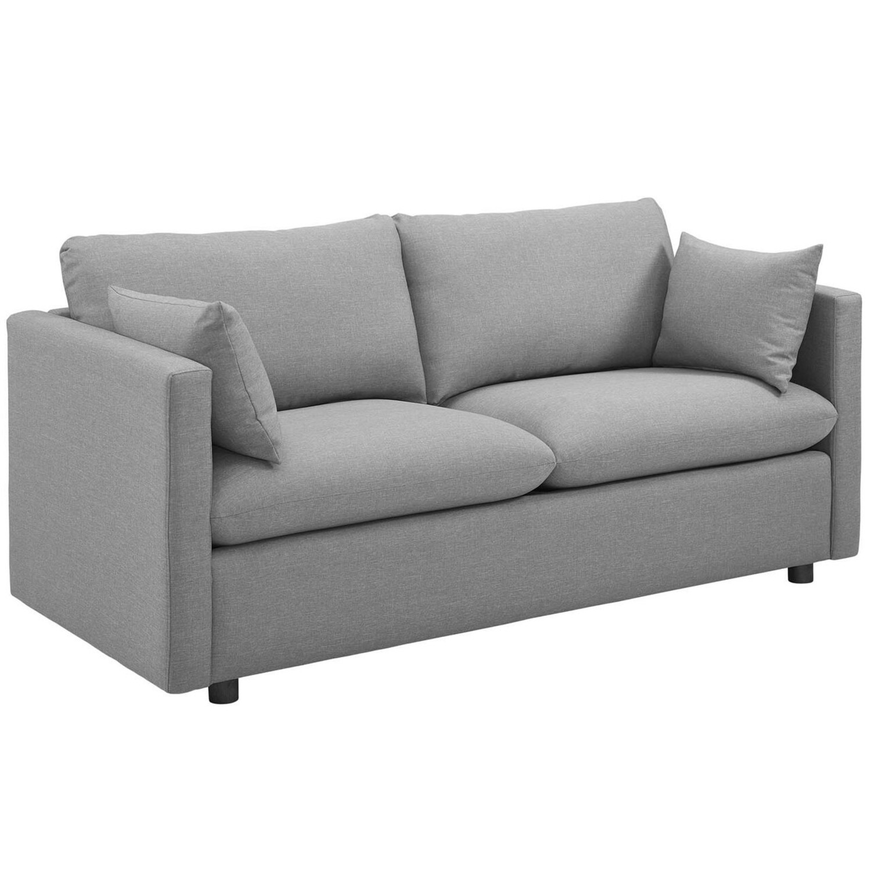 Modern Sofa In Light Gray Rounded Cushion Finish - image-1