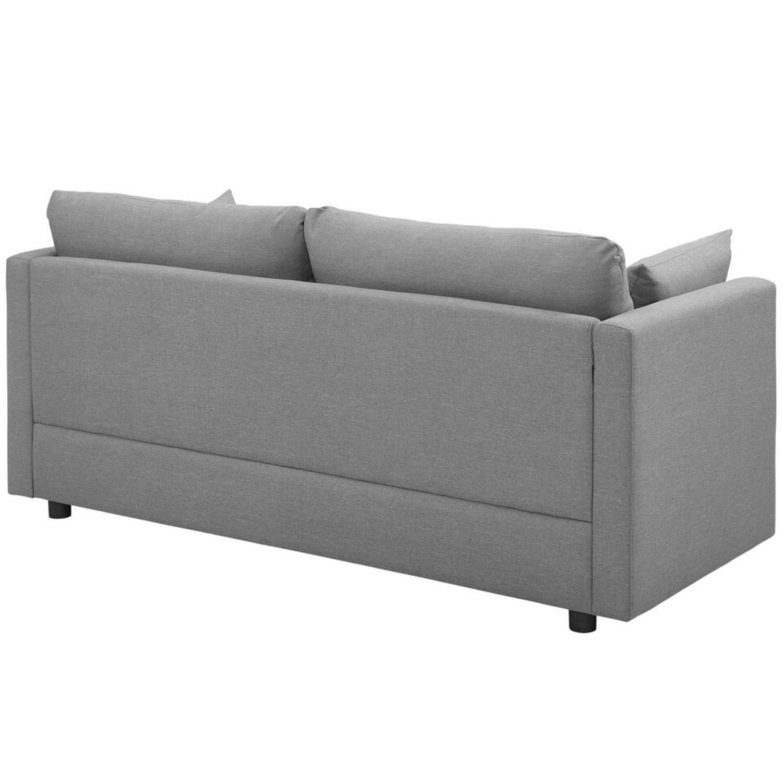 Modern Sofa In Light Gray Rounded Cushion Finish - image-2