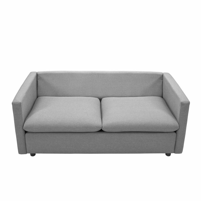 Modern Sofa In Light Gray Rounded Cushion Finish - image-6
