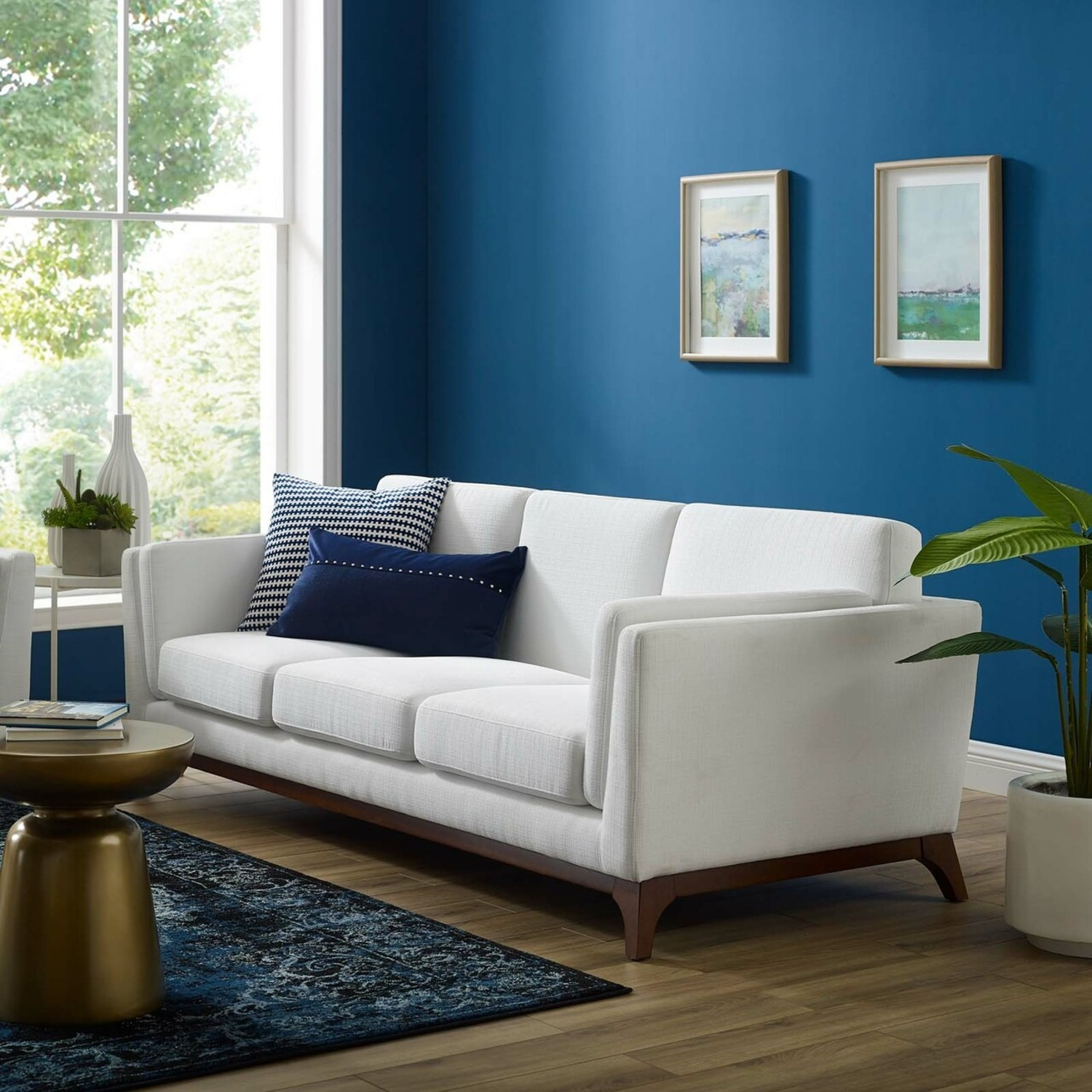 Sofa In White Fabric W/ Solid Wood Frame - image-4