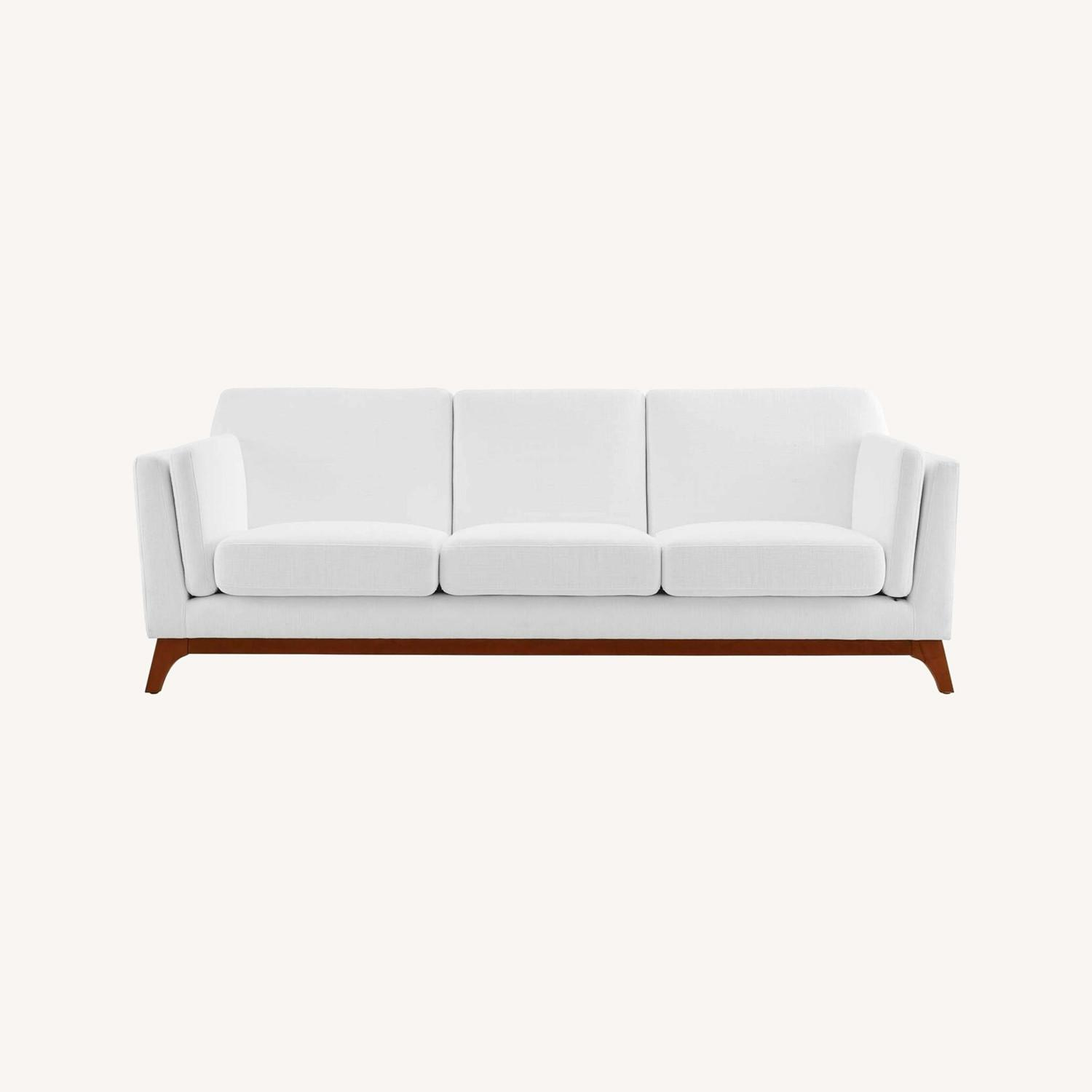 Sofa In White Fabric W/ Solid Wood Frame - image-5