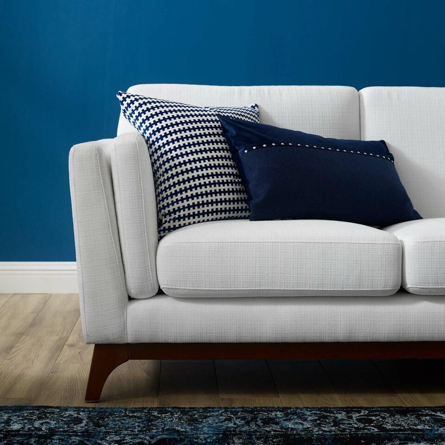 Sofa In White Fabric W/ Solid Wood Frame - image-3