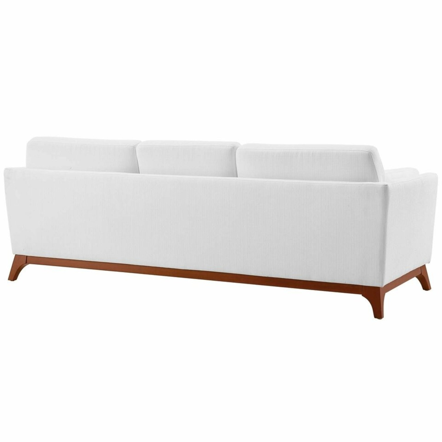 Sofa In White Fabric W/ Solid Wood Frame - image-2