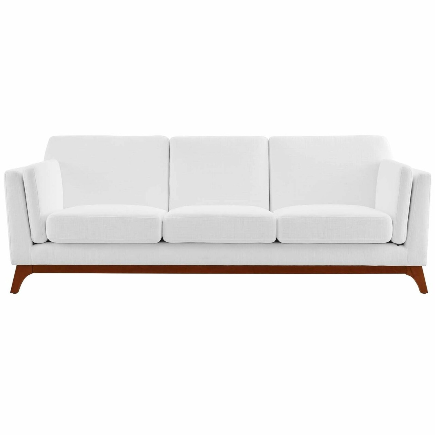 Sofa In White Fabric W/ Solid Wood Frame - image-1