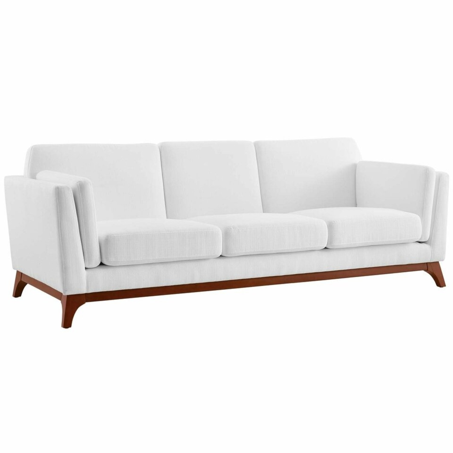 Sofa In White Fabric W/ Solid Wood Frame - image-0