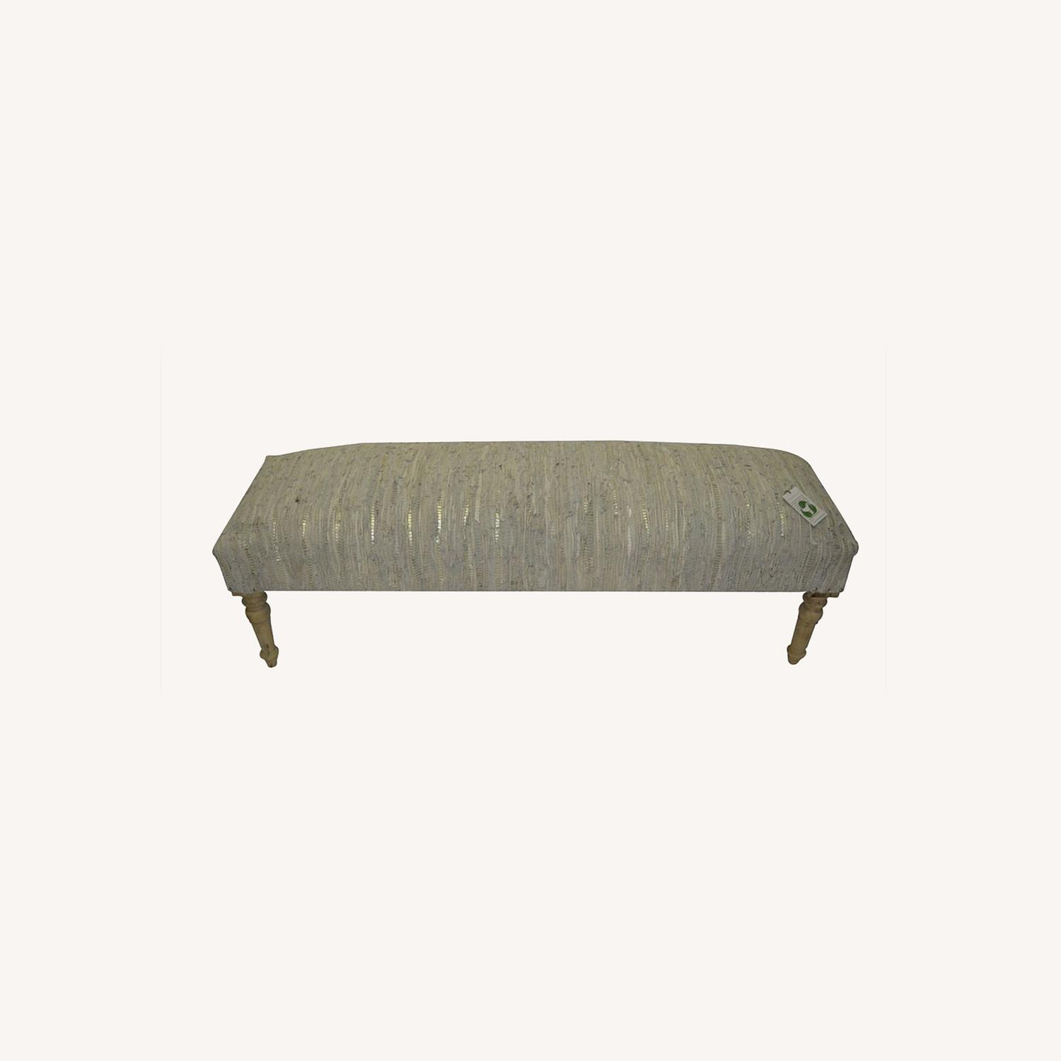 """Apolstered American Brown Stripe 48"""" Leather Bench - image-0"""