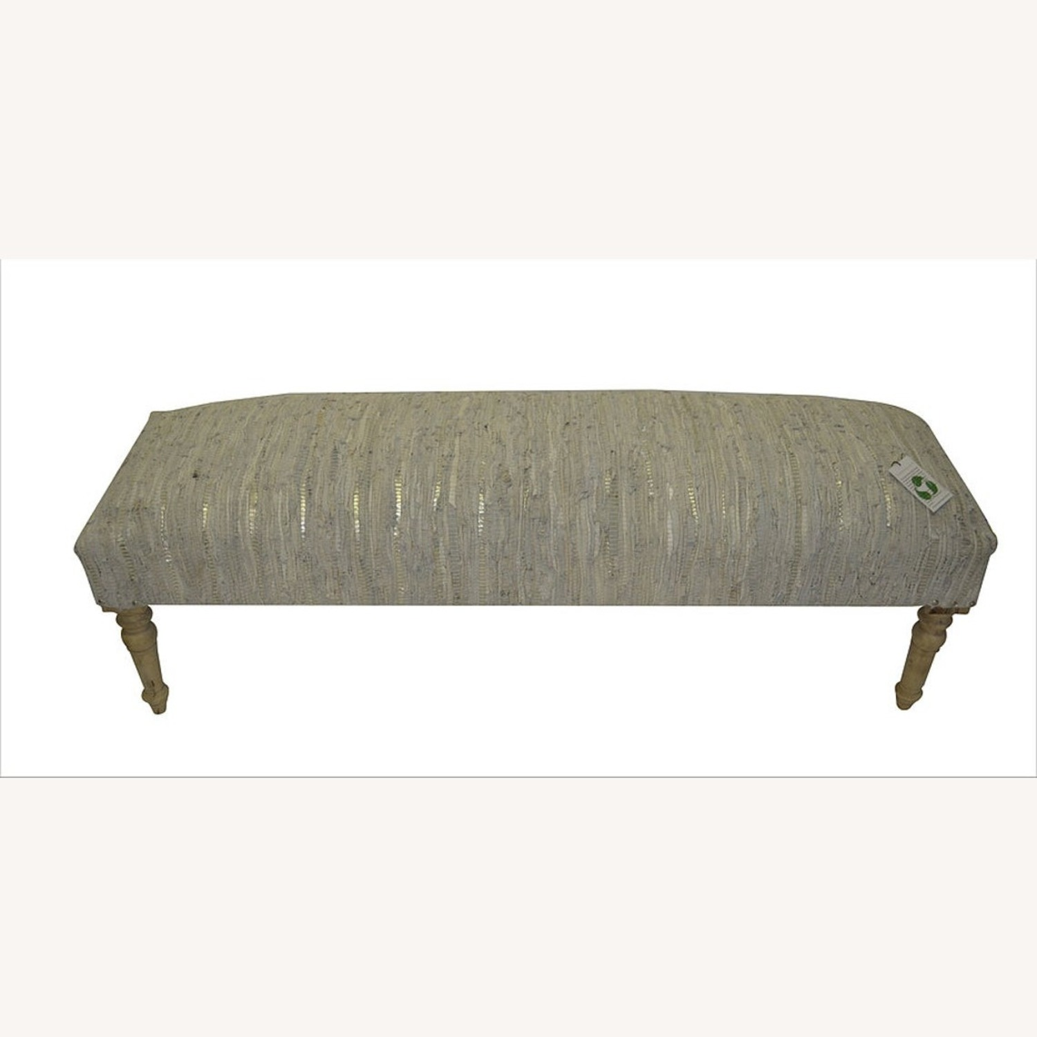 """Apolstered American Brown Stripe 60"""" Leather Bench - image-1"""